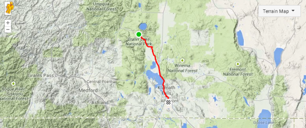 Crater Lake to Klamath Falls Bicycle Route Touring