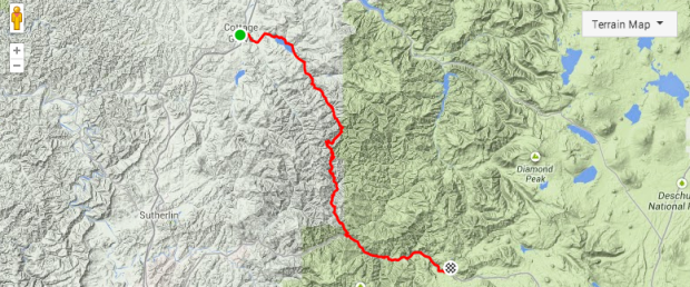 Cottage Grove to Toketee Falls Bike Route