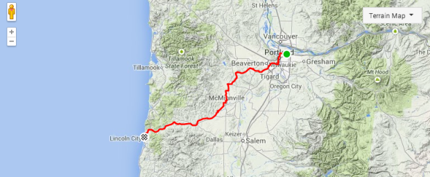 Portland to Lincoln City Bike Route