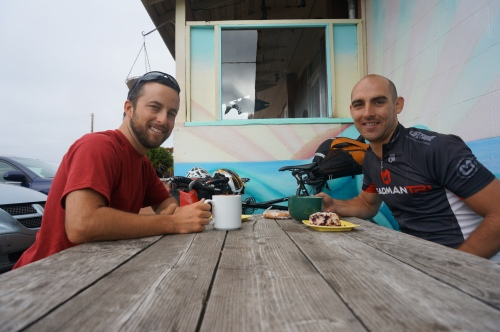 Trevor Thorpe Anthony Baldwin Green Salmon Breakfast Oregon Bike Tour